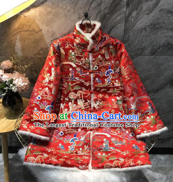 China Winter Woman Red Brocade Cotton Padded Jacket Traditional Tang Suit Outer Garment