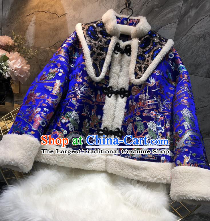 China Traditional Tang Suit Winter Cotton Padded Coat Woman Classical Royalblue Brocade Jacket