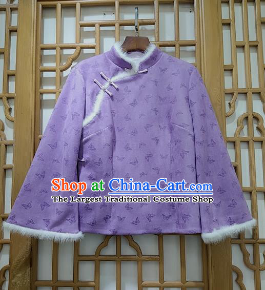 China Woman Classical Butterfly Pattern Lilac Brocade Jacket Traditional Tang Suit Winter Cotton Padded Coat