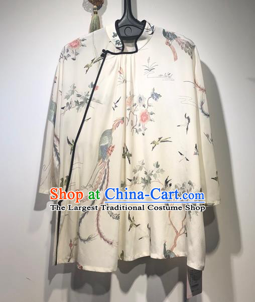 China Traditional Tang Suit White Silk Blouse Woman Printing Phoenix Peony Shirt Upper Outer Garment