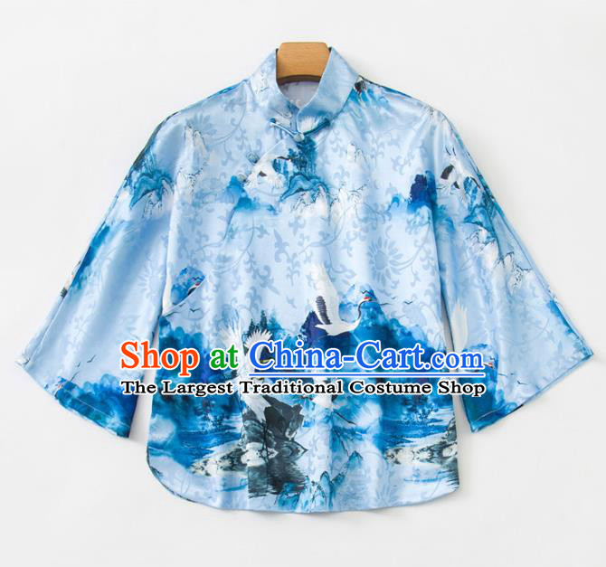 China Woman Printing Crane Blue Silk Shirt Upper Outer Garment Traditional Tang Suit Blouse