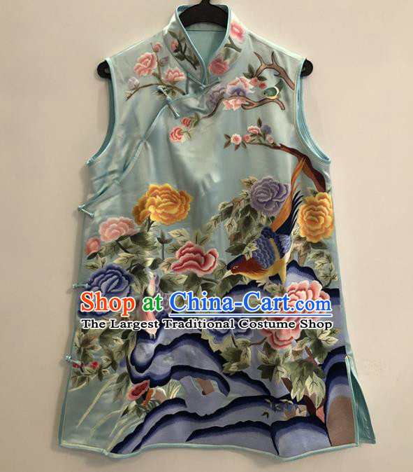 Chinese Embroidered Peony Vest National Women Clothing Tang Suit Upper Outer Garment Blue Silk Waistcoat