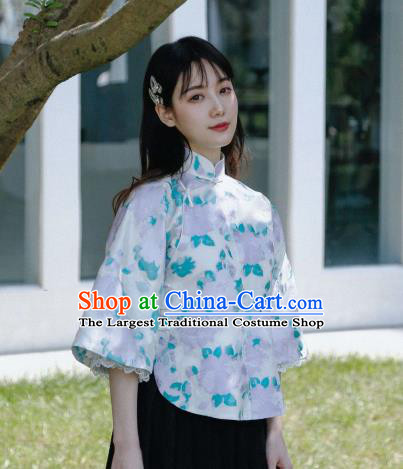 China Tang Suit Upper Outer Garment Cheongsam Wide Lace Sleeve Blouse Classical Printing Flowers Shirt
