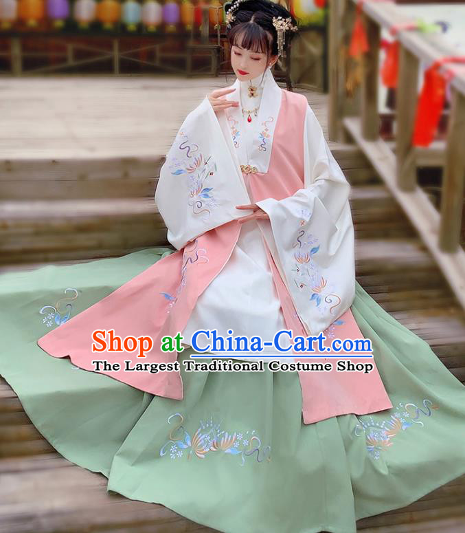 China Traditional Ming Dynasty Court Lady Embroidered Costumes Ancient Palace Beauty Hanfu Apparels Complete Set