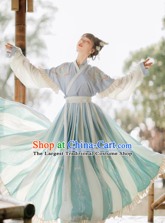 China Traditional Jin Dynasty Young Lady Dress Clothing Ancient Village Girl Hanfu Costumes