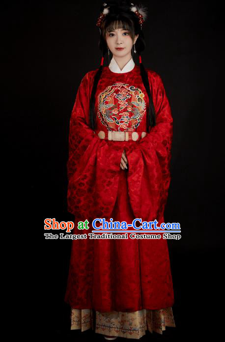 China Ancient Court Princess Red Hanfu Clothing Traditional Ming Dynasty Wedding Historical Costumes