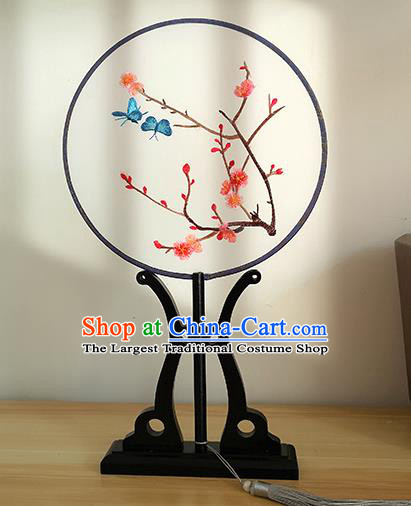 China Handmade Palace Fan Embroidered Peach Blossom Circular Fan Traditional Cultural Dance Silk Fan