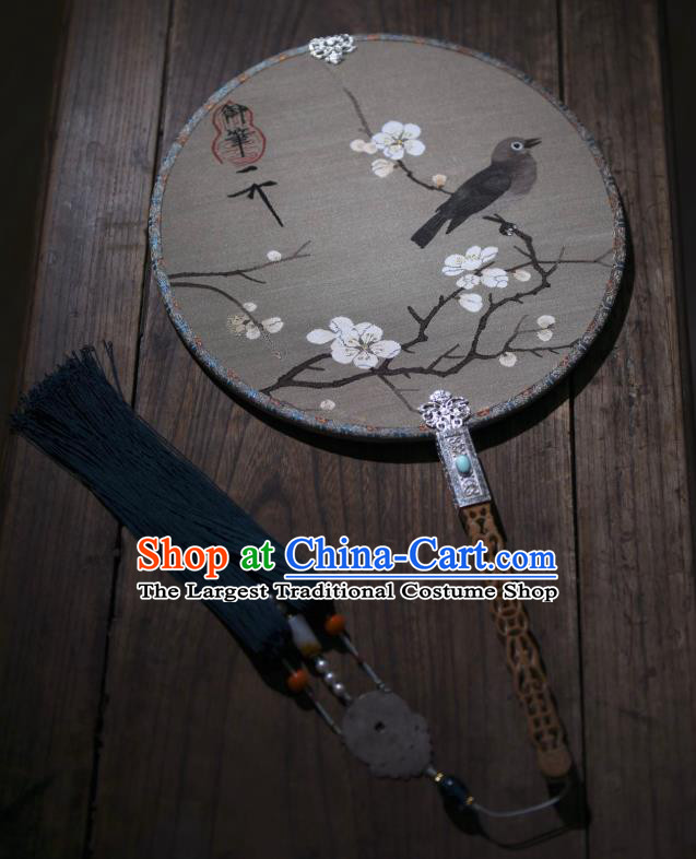 China Traditional Plum Blossom Pattern Silk Fan Handmade Palace Fan Ancient Song Dynasty Court Circular Fan