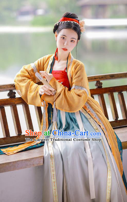 Chinese Ancient Village Girl Hanfu Dress Traditional Song Dynasty Young Beauty Historical Costumes Complete Set