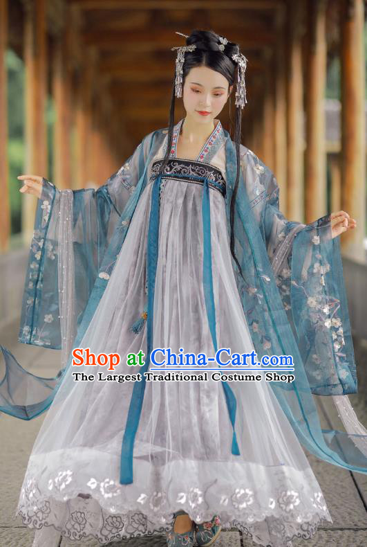 Chinese Ancient Palace Lady Blue Hanfu Dress Traditional Tang Dynasty Royal Princess Historical Costumes