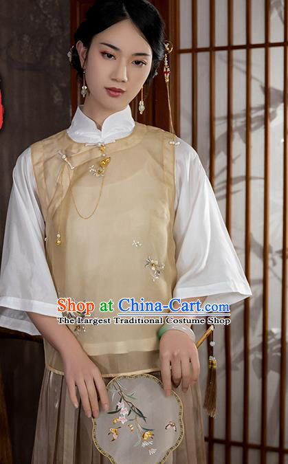 China Traditional Tang Suit Upper Outer Garment National Woman Embroidered Apricot Silk Blouse
