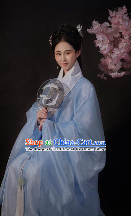 Ancient China Noble Lady Blue Hanfu Dress Traditional Ming Dynasty Patrician Woman Historical Costume