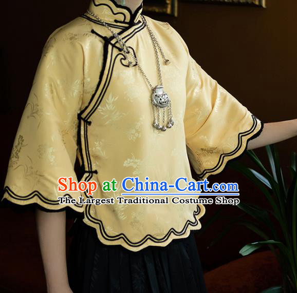 China National Woman Light Yellow Silk Blouse Tang Suit Upper Outer Garment Traditional Shirt Costume