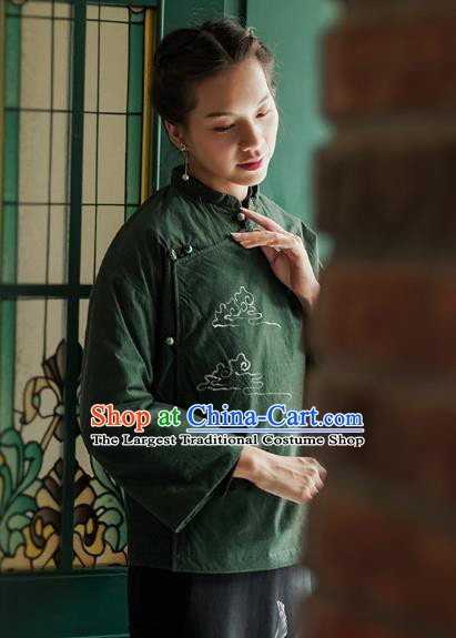 China Tang Suit Coat Traditional Winter Costume National Woman Green Ramie Cotton Wadded Jacket