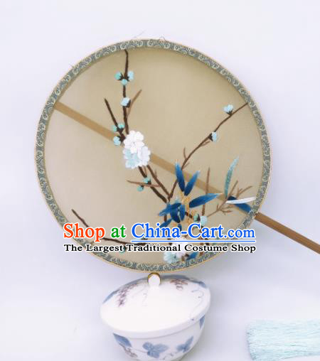 China Ancient Song Dynasty Princess Palace Fan Traditional Silk Fan Classical Embroidered Plum Blossom Circular Fans