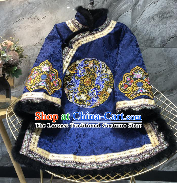 China Woman Winter Outer Garment Tang Suit Coat Traditional Embroidered Royalblue Silk Cotton Padded Jacket
