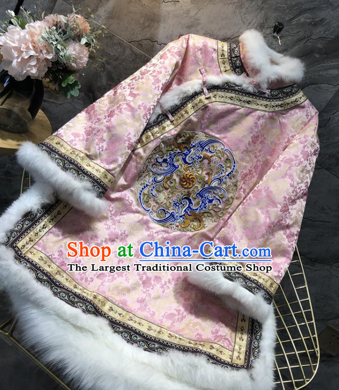 China Tang Suit Coat Traditional Embroidered Pink Silk Cotton Padded Jacket Woman Winter Outer Garment