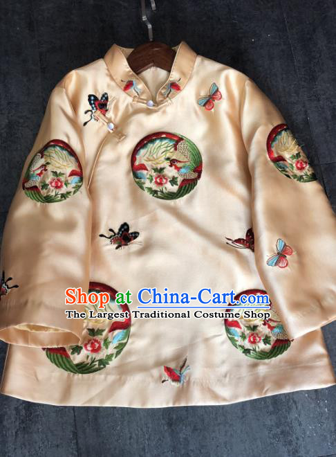 China Traditional Embroidered Phoenix Cotton Padded Jacket Woman Winter Outer Garment Tang Suit Champagne Silk Coat
