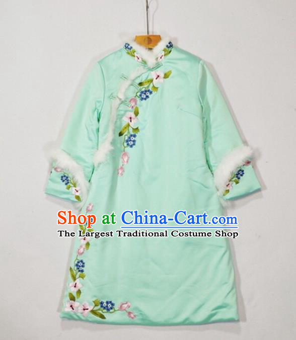 China Winter Tang Suit Coat Woman Outer Garment Traditional Embroidered Green Silk Cotton Wadded Jacket