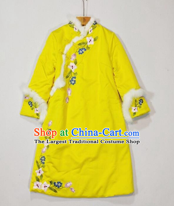 China Woman Outer Garment Traditional Embroidered Yellow Silk Cotton Wadded Jacket Winter Tang Suit Coat