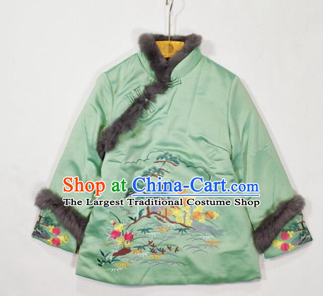 China Traditional Embroidered Green Silk Cotton Wadded Jacket Winter Tang Suit Coat Woman Outer Garment