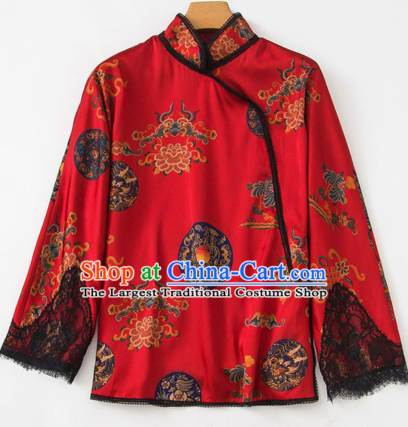 China Traditional Women Upper Outer Garment Printing Peony Red Silk Blouse Tang Suit Shirt