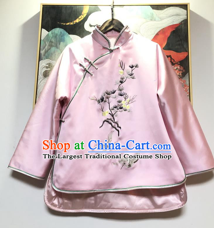 China Traditional Winter Outer Garment Tang Suit Coat Embroidered Pink Silk Cotton Wadded Jacket