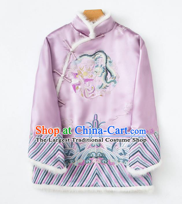 China Embroidered Cotton Wadded Jacket Traditional Tang Suit Outer Garment Winter Lilac Silk Coat