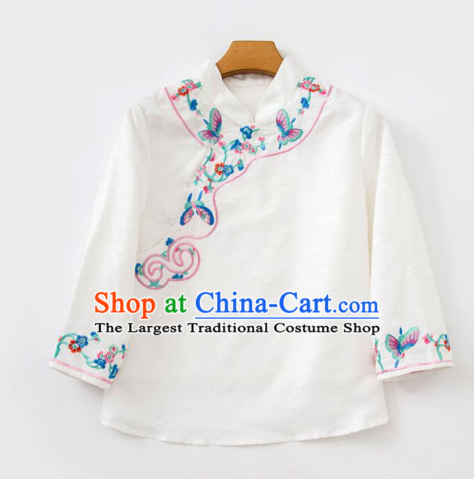 China Women Blouse Traditional Embroidered Butterfly White Flax Shirt Tang Suit Upper Outer Garment