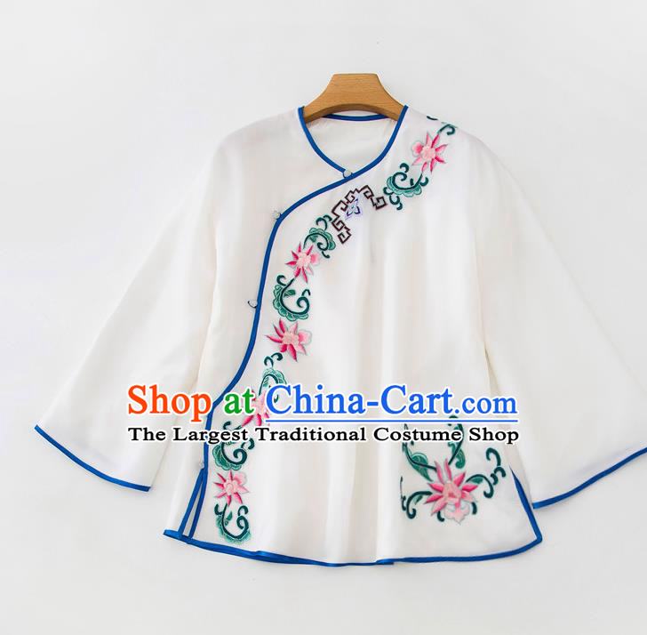 China Traditional Embroidered Flowers White Flax Shirt Tang Suit Upper Outer Garment Women Blouse