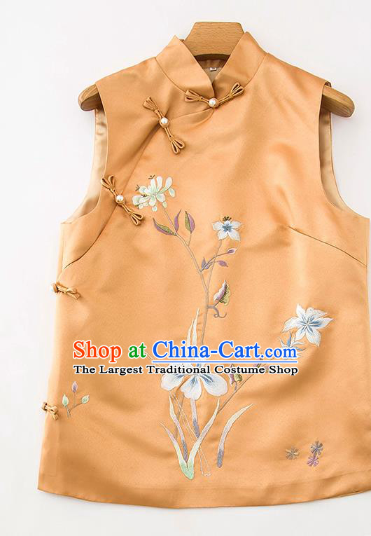 Chinese Classical Embroidered Orchids Orange Silk Vest National Women Upper Outer Garment Tang Suit Waistcoat