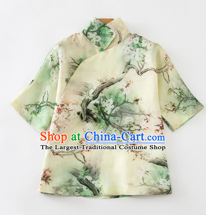 China Traditional Printing Pear Blossom Shirt Tang Suit Upper Outer Garment Women Green Silk Blouse