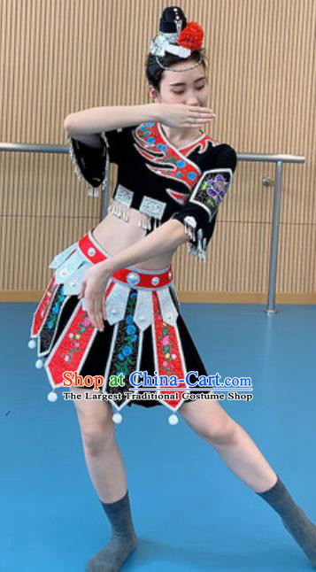 Chinese Tujia Nationality Minority Folk Dance Costumes Ethnic Woman Stage Performance Dress Outfits