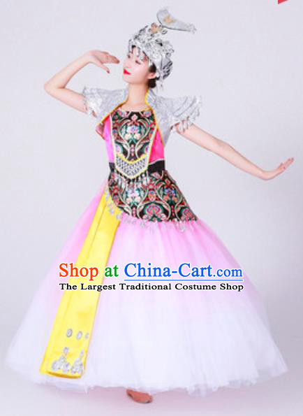 Chinese Miao Nationality Minority Folk Dance Costumes Ethnic Woman Stage Performance Pink Dress Outfits