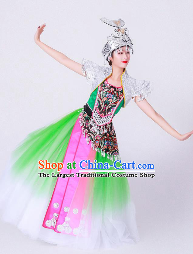 Chinese Ethnic Woman Stage Performance Green Dress Outfits Miao Nationality Minority Folk Dance Costumes