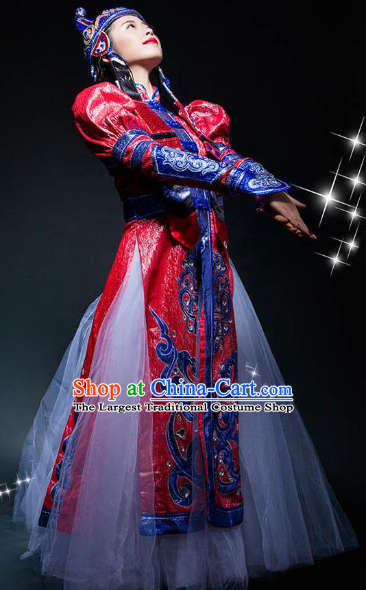 Chinese Mongolian Ethnic Woman Stage Performance Dress Outfits Mongol Nationality Minority Folk Dance Costumes
