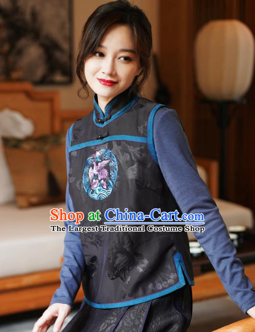 Chinese Classical Embroidered Black Silk Vest National Women Tang Suit Waistcoat Upper Outer Garment