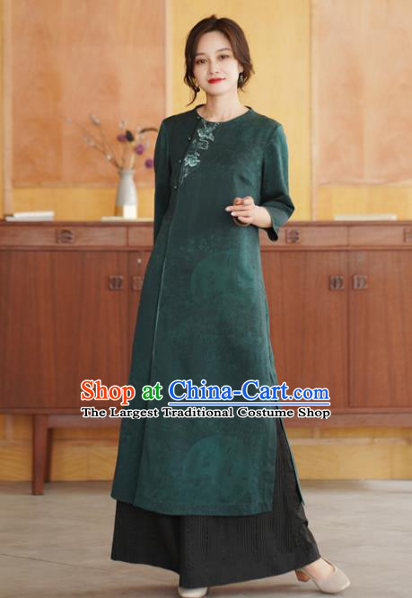 China Tang Suit Overcoat National Women Clothing Classical Embroidered Green Silk Dust Coat