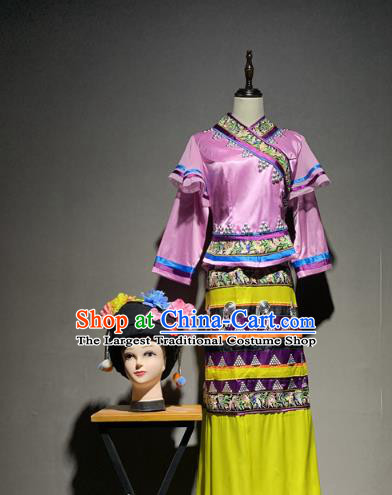 Chinese Wa Nationality Minority Costumes Ethnic Woman Stage Performance Folk Dance Dress and Hat