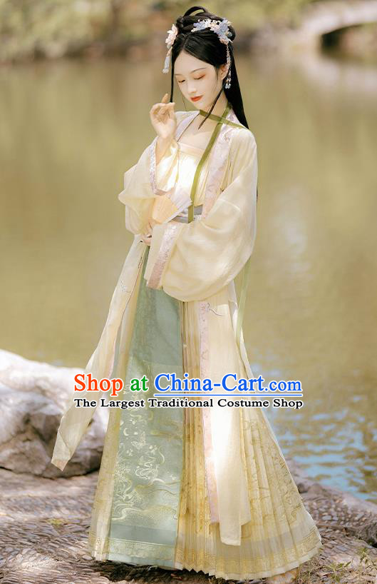 China Traditional Song Dynasty Village Girl Costumes Ancient Country Young Lady Hanfu Clothing Full Set