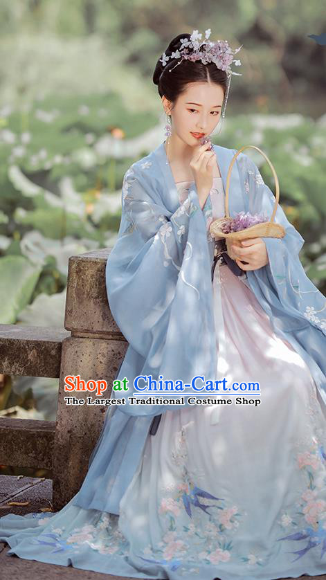 China Ancient Fairy Embroidered Blue Hanfu Dress Traditional Tang Dynasty Court Princess Historical Costumes Complete Set