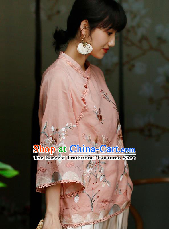 Chinese Classical Cheongsam Upper Outer Garment Traditional Tang Suit Embroidered Pink Flax Shirt