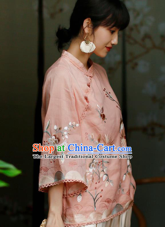 Chinese Traditional Tang Suit Embroidered Pink Flax Shirt Classical Cheongsam Upper Outer Garment