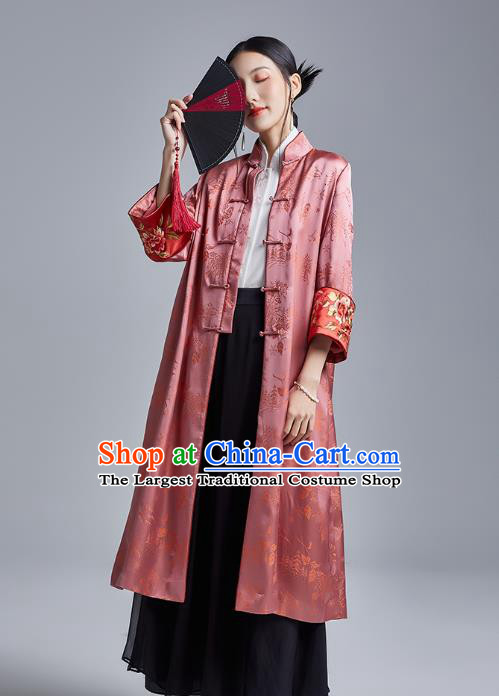 Chinese Traditional Tang Suit Overcoat National Embroidered Pink Brocade Dust Coat