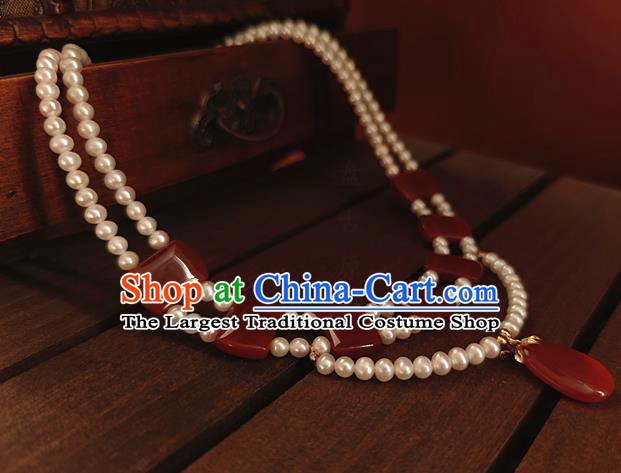 China Classical Ancient Palace Beauty Pearls Necklace Traditional Tang Dynasty Princess Agate Necklet Accessories