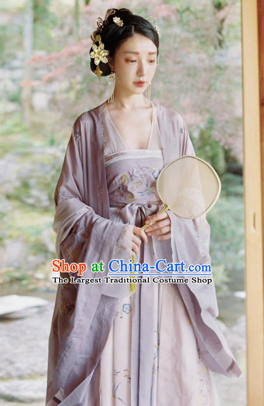 China Ancient Tang Dynasty Imperial Concubine Historical Costumes Traditional Embroidered Hanfu Dress Clothing for Women