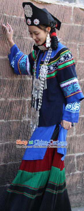 China Yi Nationality Woman Folk Dance Clothing Traditional Liangshan Ethnic Stage Performance Costumes and Hat