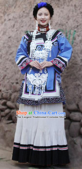 China Yi Nationality Stage Performance Outfits Clothing Traditional Liangshan Ethnic Folk Dance Costumes and Headwear