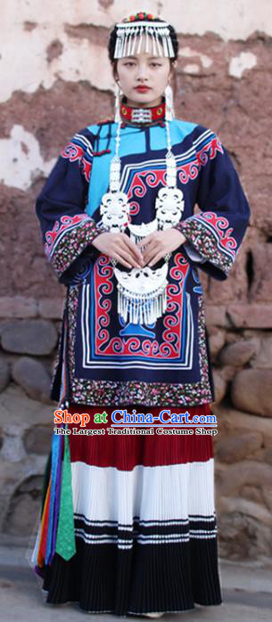 China Traditional Liangshan Ethnic Stage Performance Costumes Yi Nationality Minority Folk Dance Outfits Clothing and Headpiece