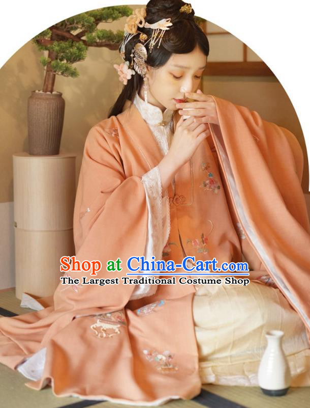 China Ancient Palace Princess Embroidered Hanfu Dress Apparels Traditional Ming Dynasty Noble Woman Historical Clothing